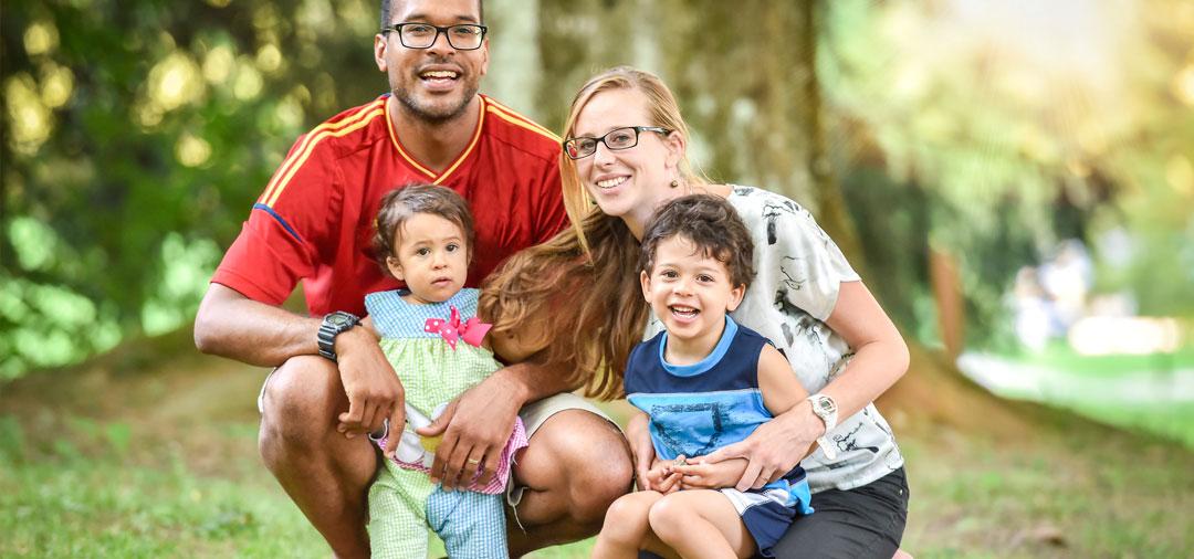 Facade happy family outdoors